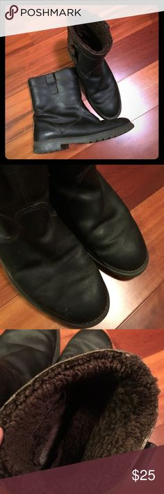 Mens leather boots Mens leather and fur boots. Rubber soles. The inside pull tabs are partially unattached but could prob be fixed pretty easily. Good condition otherwise. Real leather outer and sheepskin/lambswool lining. Dark chocolate brown color. Eddie Bauer Shoes Boots