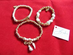 BIBI BIJOUX SET OF 3 CREAM BEAD BALL & CHARM BRACELETS - BNWT | eBay