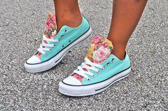 Cool Breeze aqua & floral Converse.