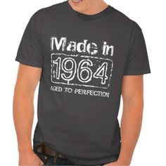 Vintage 1964 Aged to perfection t shirt for 50th Birthday in 2014. Personalizable age year. Customize text to make it a perfect gift. Present for men: brother, husband, uncle, grandpa etc. Cool distressed look design. Cute present idea for fifty year old man.
