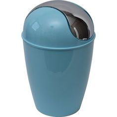 Evideco Plastic 1 2 Gallon Swing Top Trash Can Finish Aqua Blue