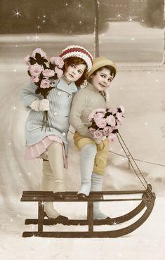 vintage kids on sled christmas card