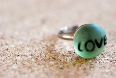 Green Glass Black LOVE Adjustable Silver Ring by JERIVANN on Etsy, $10.00