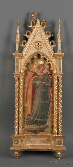 Italian School, 19th/20th Century   St. Cecilia  Unsigned.  Oil and gold leaf on arch-shaped panel, 15 1/8 x 5 7/8 in. (38.5 x 15.0 cm) in a Gothic-style frame.