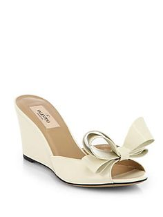 Valentino Couture Patent Leather Bow Wedge Sandals ... could be a fun twist!  LOVE the bow!!