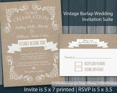 Rustic Burlap and Lace Wedding Invitation  by NotedOccasions, $45.00