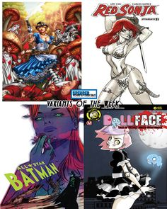 What a tough week to try and narrow down covers. Lots of awesome covers out tomorrow for new comic book day. Here's our favorite variant covers releasing 2/8! Grimm Fairy Tales Presents Steampunk Alice in Wonderland by Jose Luis, Red Sonja #2 by J Scott Campbell, All-Star Batman #7 by Tula Lotay, and Dollface #2 by Dan Mendoza. #comicbookart #ncbd