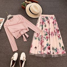 Amolapha Women Long Sleeve T Shirt Tops+Mesh Floral Printed Skirts Sets Short Style Solid T-shirts Elegant Skirt Suits for Woman Skirt Fashion, Fashion Dresses, Bow Dresses, Skirt Mini, Lace Skirt, Floral Print Skirt, Floral Chiffon, Skirt Suit, Printed Skirts