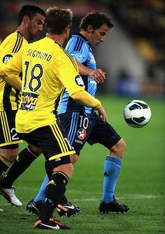 06 Oct Alessandro Del Piero of Sydney FC in action during the round one A-League match between the Wellington Phoenix and Sydney FC. First Football, Football Match, Sydney Fc, Soccer Ball, Phoenix, Action, Cars, My Love, Sports