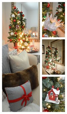 Holiday Home Tour: Christmas at the Cottage.... LOVE the little crown adorning the top of the tiny tree, a great idea!