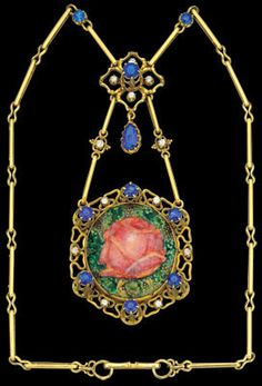 NELSON 1859-1942 & EDITH DAWSON  Arts & Crafts Rose Necklace   Gold Sapphire Diamond  H: 10 cm (3.94 in)  W: 5 cm (1.97 in)   Marks: Signed with a 'D' on the enamel  British, c.1905