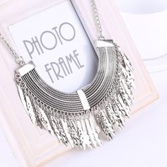 Gold Silver Gray 3 Colors Tassel Necklace Collier Femme High Quality Vintage Jewelry Statement Chokers Necklace Pendants -- Find out more by clicking the VISIT button