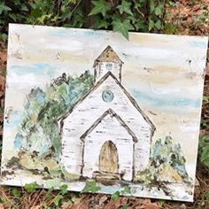 Update- SOLD Hope y'all are having a great start to your Wednesday! This church painting is now listed in my Etsy shop. If you didn't catch the timelapse video of me painting this one, check my recent posts 👉🏼 . Farmhouse Paintings, Bible Art, Pictures To Paint, Painting Inspiration, Wood Art, Painting & Drawing, Canvas Wall Art, Watercolor Paintings, Art Projects