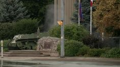 Smoke rises from a package exploded by Niagara Regional Police; St Catharines, September 29, 2015