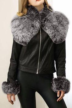 Black Fur-Trim Faux-Leather Jacket
