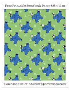 Free Pistachio Green Star Large Cookie Monster Soccer Pattern Paper - Sesame Street