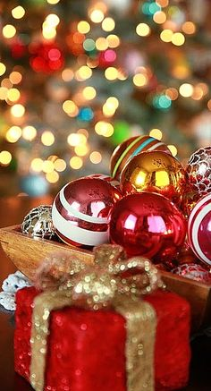 packages, ornaments and lights