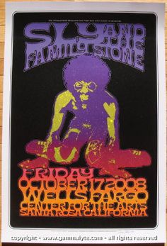 Sly and the Family Stone - silkscreen concert poster (click image for more detail) Artist: Dave Hunter Venue: Wells Fargo Center Location: Santa Rosa, CA Concert Date: Edition: signed in pe Tour Posters, Band Posters, Music Posters, Classic Rock Albums, Rock And Roll History, Psychedelic Rock, Psychedelic Posters, Vintage Concert Posters, The Family Stone