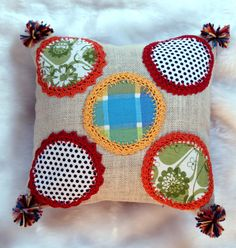 Pretty Patch Work Crochet Jute Designer Cushion by KraftNation