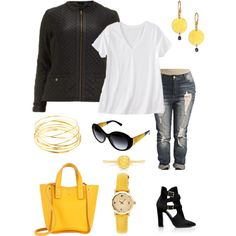 Super Casual Plus Size Look...with fabulous gold accessories :), created by katydid981321 on Polyvore