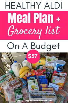 Grocery Haul and Meal Plan – Week 7 A healthy Aldi meal plan and shopping list on a budget! See what our family of four ate this week. Check out how we eat healthy and stay on budget by shopping at Aldi! Meal Plan Grocery List, Aldi Meal Plan, Grocery Haul, Grocery Lists, Aldi Grocery Store, Family Meal Planning, Budget Meal Planning, Cooking On A Budget, Family Meals