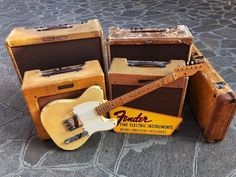 What a stunning collection! Fender Telecaster, Fender Guitars, Fender Vintage, Vintage Guitars, Vintage Ads, Guitar Amp, Cool Guitar, Fender Esquire, Music Songs