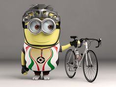 I basically did a minion, using the same bike I have, I also modelled my helmet, and my kit. I even put the correct energy drink in the bottles Lotsa fun. Modelled and Rendered in 3dsMax 2013 - Men...