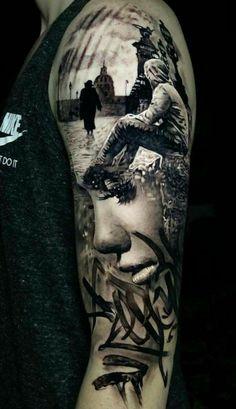Beautiful Surrealist Double-Exposure Tattoos Mash Up People, Architecture & Nature double exposure tattoo © tattoo artist Jak Connolly 💙📌💙📌💙📌💙 Half Sleeve Tattoos Mermaid, Unique Half Sleeve Tattoos, Skull Sleeve Tattoos, Girls With Sleeve Tattoos, Best Sleeve Tattoos, Japanese Sleeve Tattoos, Body Art Tattoos, Portrait Tattoos, Tattoo Art