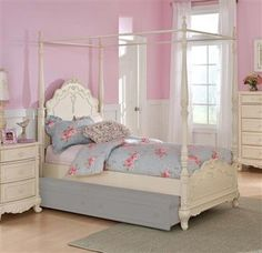 Cinderella White Wood Twin Canopy Poster Bed