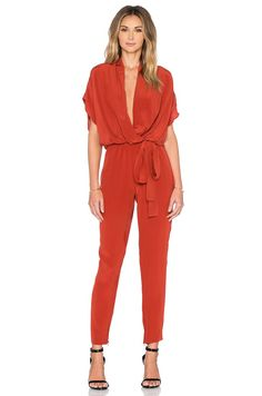 Pin for Later: The Stylish Summer Staple That Feels Like PJs  L'Agence Olivia Silk Surplice Jumpsuit, Harissa ($495)