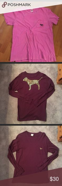 Purple dog back Victoria secret pink tee Lrg Purple is a large has minor damage at the bottom PINK Victoria's Secret Tops