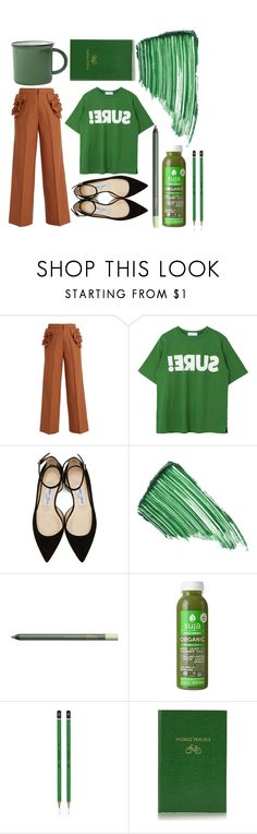 """Green spring outfit (casual & elegance)"" by mistapotta ❤ liked on Polyvore featuring Muveil, Jimmy Choo, By Terry, Pixi and Sloane Stationery"