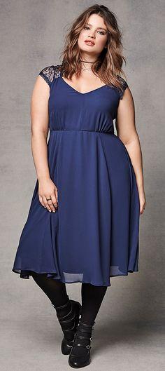Plus Size Lace Inset Chiffon Midi Dress