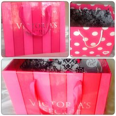 From Victoria's Secret bag to a beautiful box! Recycled Victoria's Secret bag, turned into a box you can use to store your favorite things! Diy Storage Boxes, Display Boxes, Victoria Secret Rooms, Bridal Lingerie Shower, Craft Projects, Projects To Try, Pink Room, Bedroom Accessories, Everything Pink
