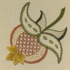 'Pomegranate' Jacobean Crewel Work Embroidery--                                                                                                                                                     More