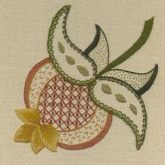 'Pomegranate' Jacobean Crewel Work Embroidery--
