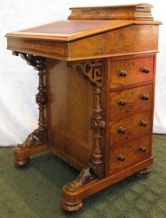 Antique Davenport Ship Captain Writing Desk Leather Burl Wood Inlay c1840-1870 #Victorian