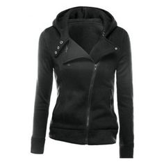 Fashion Hooded Notched Lapel Oblique Zipper Placket Plain Zip Up... ($31) ❤ liked on Polyvore featuring tops, hoodies, hooded pullover, cotton hoodies, hooded zip sweatshirt, hooded zipper sweatshirts and cotton hooded sweatshirt