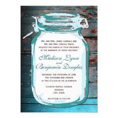 Teal Mason Jar Rustic Wood Wedding Invitations Custom Invitation