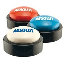 """Desktop Button that plays your 10 second custom message, music, or audio logo with a push! We pre-program your 10 second sound. """"That's easy"""" :) Trade Show Giveaways, Technology Gadgets, Corporate Gifts, Grand Opening, Mother Day Gifts, Personalized Gifts, Promotion, Buttons, Cool Stuff"""