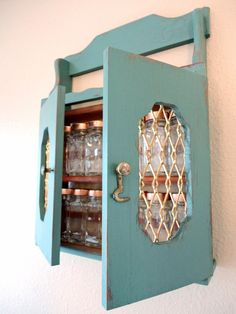 turquoise spice rack with copper lidded jars by resplendid on Etsy, $30.00