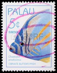 The ornate butterflyfish, Chaetodon ornatissimus, 5-cent stamp printed in the…