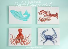 Sealife Canvas Art using Mod Podge