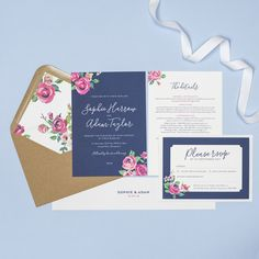 Navy and vintage rose style wedding invitations by Project Pretty Floral Wedding Stationery, Wedding Invitations, Design Suites, Modern Typography, Personalized Invitations, Invite Your Friends, Envelope Liners, Vintage Roses, Kraft Envelopes