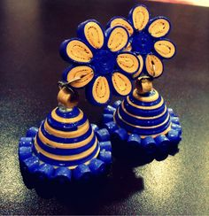 Off-White and Purple paper quilling jhumka