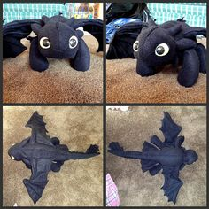 Toothless Plushie I made for my daughter. Pattern available @ http://spirit-of-america.deviantart.com/art/Toothless-Plush-163628628