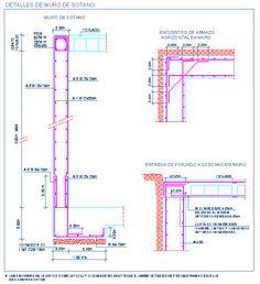 Detalle de muro de sotano de hormigón armado y entrega de forjado reticular | detallesconstructivos.net