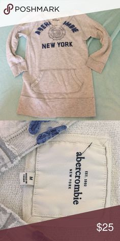 Abercrombie kids sweatshirt size medium. This Abercrombie kids size med sweatshirt fits like an adult xs. Goes perfect with leggings as its longer and can cover you bum:) it also goes well with jeans. A little pulling but not very noticeable and still a little soft. Ask any questions:) abercrombie kids Tops Sweatshirts & Hoodies