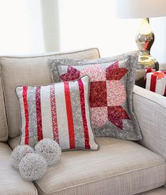 Turn simple piecing into elegant home accents with these quilted pillows.