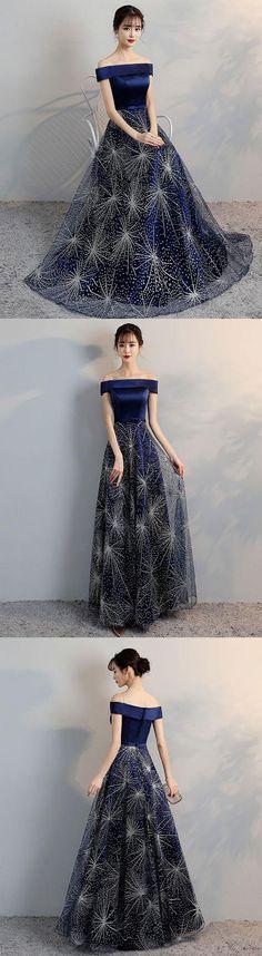 Blue off shoulder long prom dress, blue evening dress, dark blue formal dress